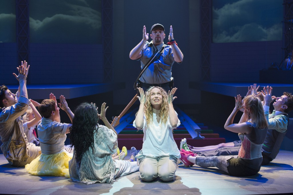 The cast of Godspell. Jennifer Copping, centre foreground Credit: David Cooper