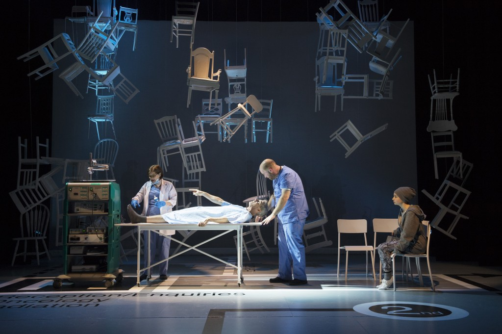Bonnie Panych, Jonathon Young, Chris Cochrane and Matreya Scarrwener Set design: Ken MacDonald Credit: David Cooper