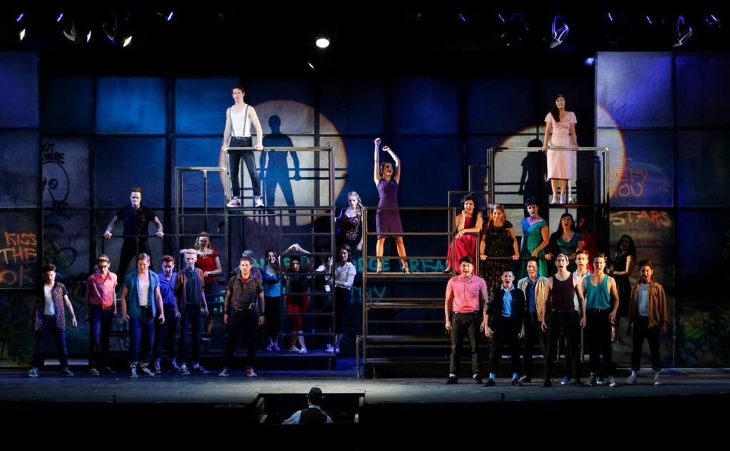 The Cast. Alexandra Lainfiesta (centre, in purple) Credit: Tim Matheson